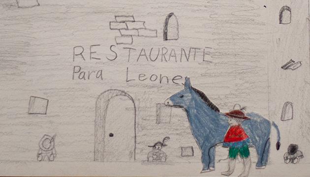 Kinderzeichnung, Beitragsbild mit einem Jungen und einem Esel