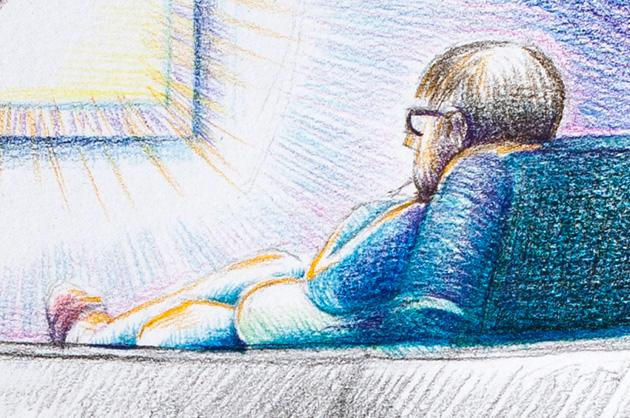 Detail aus der Illustration – Fern sehender Mann im Sessel, mit Buntstiften gezeichnet
