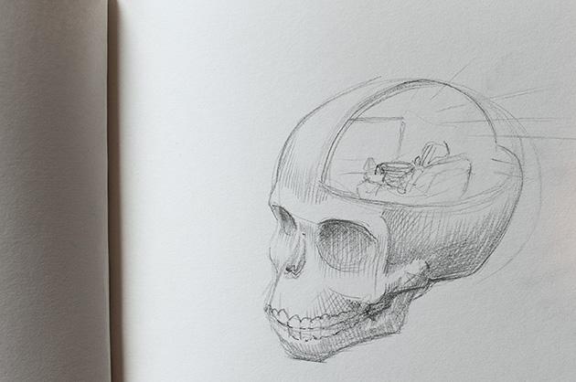 Bleistift-Skizze eines menschlichen Schädels. Ansicht von seitlich oben, Schädel nach Links ausgerichtet