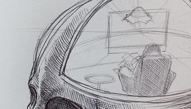 Ideen-Skizzen – Beitragsbild eines Skizzenausschnittes, gezeichnet mit einem Kugelschreiber