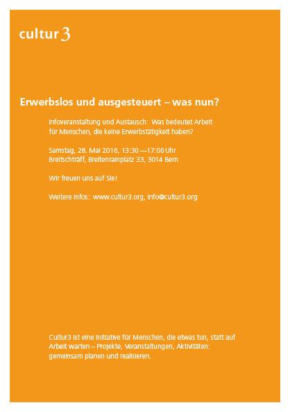 cultur3 – Flyer-Entwurf vollflächig in Orange und Text in Weiss
