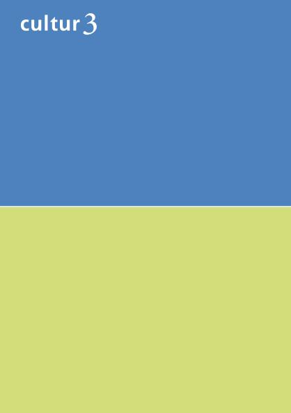 cultur3 – Entwurf zweifarbiger Flyer mit Farbtönen von Le Corbusier in Blau und Hellgrün