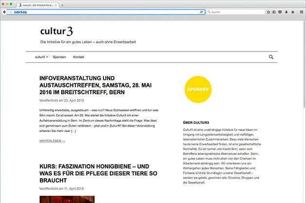 cultur3 – Startseite der Website in der Screenversion