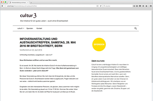 cultur3 – Beitrags-Seite der Website in der Screenversion
