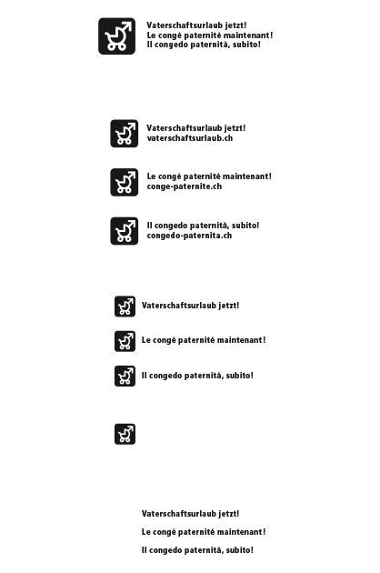 Logo Vaterschaftsurlaub jetzt – flächiges Logo positiv Schwarz-Weiss