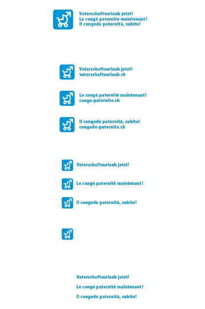 Logo Vaterschaftsurlaub jetzt – Sprachvarianten des flächigen Logos