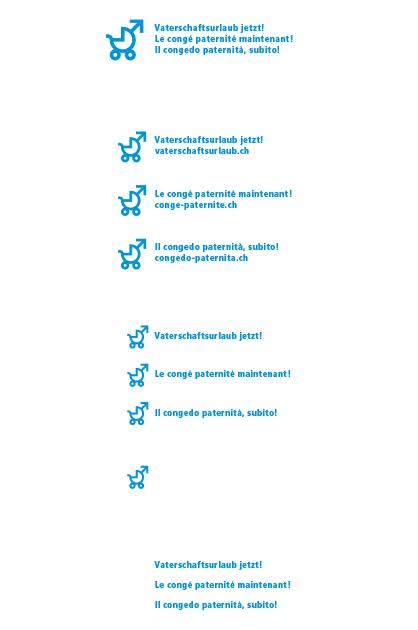 Logo Vaterschaftsurlaub jetzt – Sprachvarianten des Strich-Logos