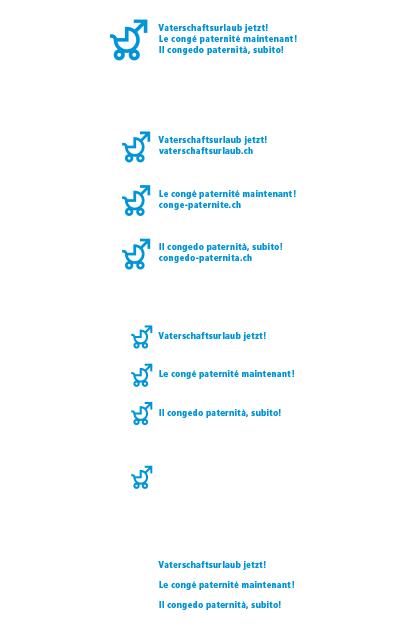 Logo Vaterschaftsurlaub jetzt – Strich-Logo positiv und farbig