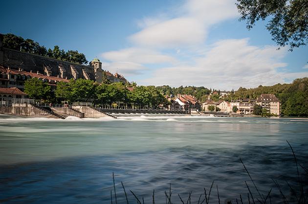 Fotografie von der Aare in Bern beim Schwellenmätteli