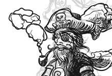 Beitragsbild; Illustration in Schwarz und Weiss mit einem rauchenden Piraten