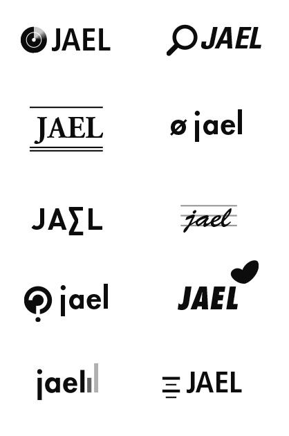 Logo-Design JAEL, verschiedene Logo-Entwürfe in Schwarz und Weiss