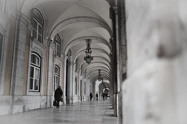 Lissabon, die Arkaden des Justizministeriums
