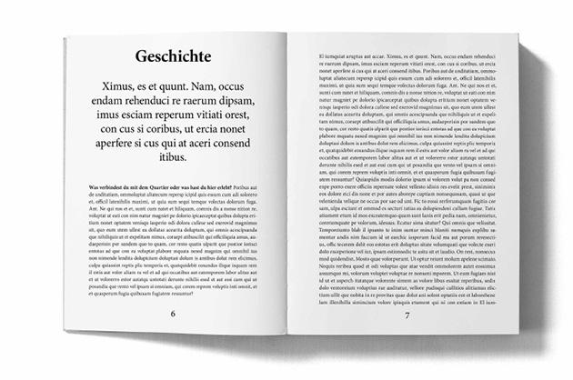 Layoutbeispiel aus dem Murifeldbuch – Doppelseite aus dem Kapitel Geschichte mit lateinischem Blindtext