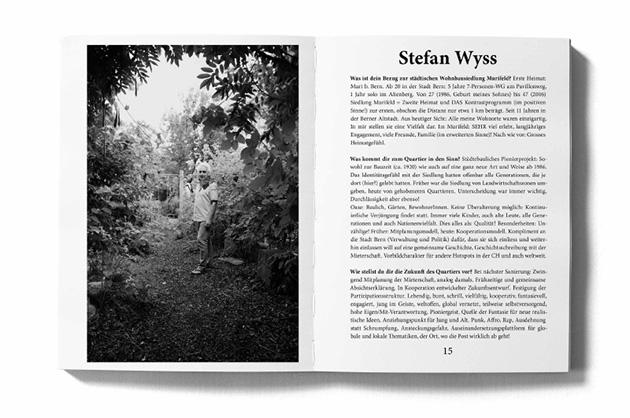 Layoutbeispiel aus dem Murifeldbuch – Doppelseite mit einem Portrait. Bild aus mittlerer Distanz und langer Text.