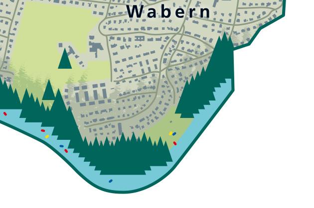 Illustration Ortsplan Köniz Schlauchboote auf der Aare und im Eichholz