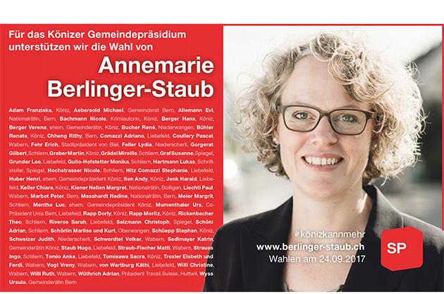 Inserat von Annemarie Berlinger-Staub in der Wabernpost vom Juli 2017