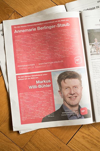 Gedruckte Inserate von Annemarie Berlinger-Staub und Markus Willi in der Könizer Zeitung vom August 2017