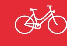 Illustration – ein Ortsplan für Köniz, Teil 1. Beitragsbild mit einem abstrahierten, weissen Damenrad auf rotem Grund