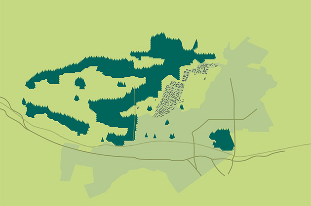 Ortsplan Köniz, Illustrationsansatz als halbabstrakte Vektorgrafik