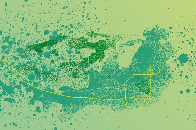 Ortsplan Köniz, Illustrationsansatz mit simulierten Farbspritzern