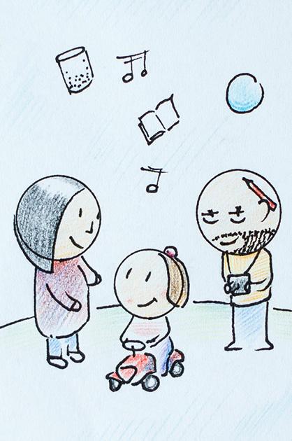 Illustration KiTa. Familie mit Kind.