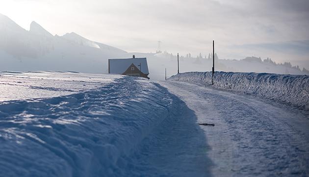 Wildhaus SG im Winter, Beitragsbild mit einem Haus an einem Schneeweg