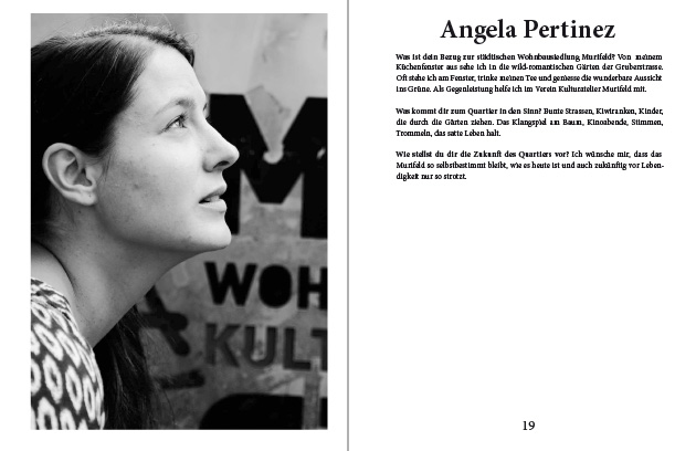 Doppelseite aus dem Murifeldbuch mit dem Beitrag von Angela
