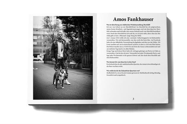 Murifeldbuch, Auszug einer Doppelseite aus dem Teil mit den Buchbeiträgen. Mann mit Hund.