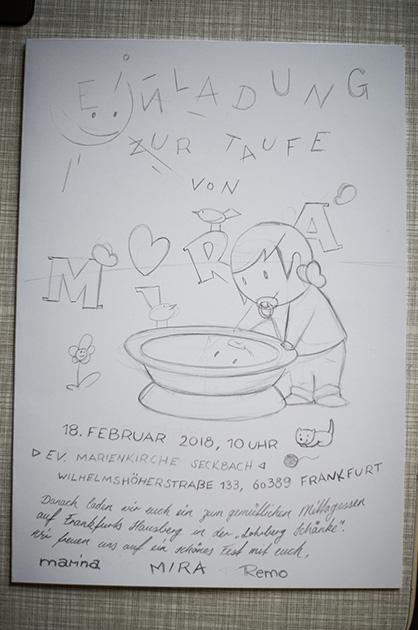 Taufkarte für Mira – Skizze für die Abnahme mit dem angelieferten Text