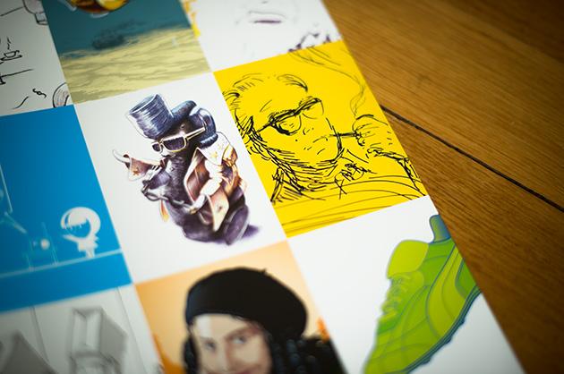 Broschüre manuele; Detail aus der Doppelseite mit Illustrationen. Im Bild: Max Frisch