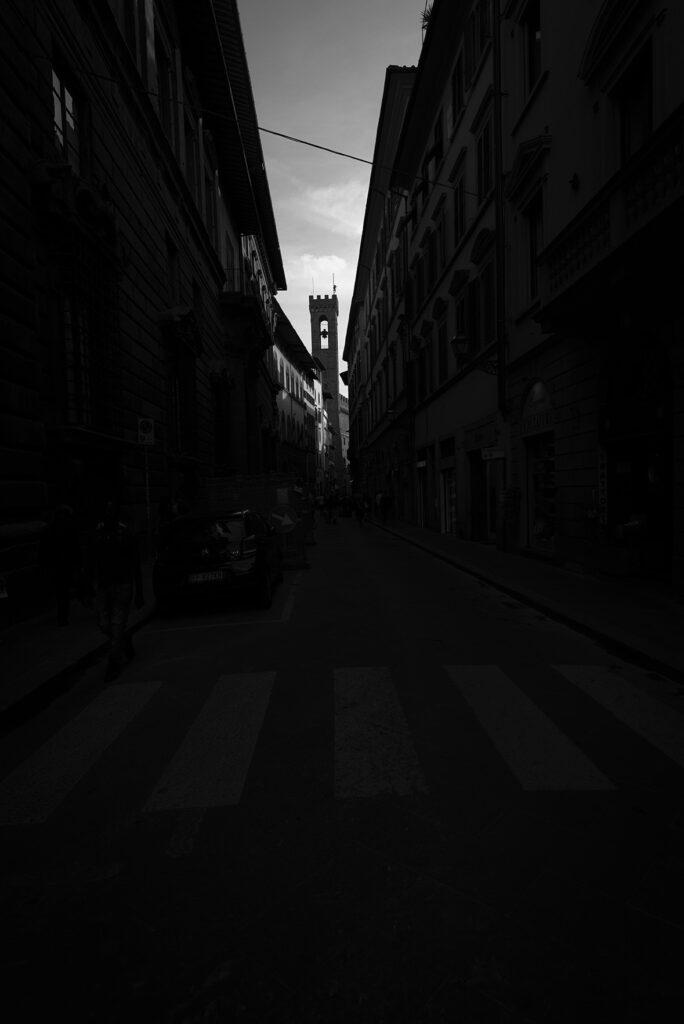 Strassenbild von Florenz, Schwarz-Weiss