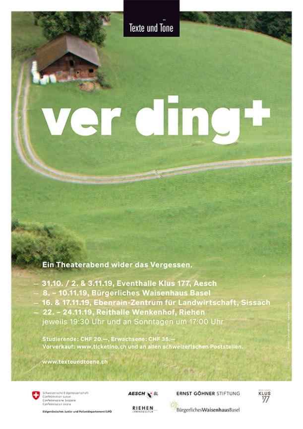Theaterstück Ver-Ding, Plakatanwendnungen A3, A2 und F4