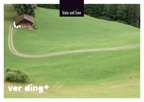 Theater Ver-Ding, Flyer als Postkarte. Anwednung im Querformat.