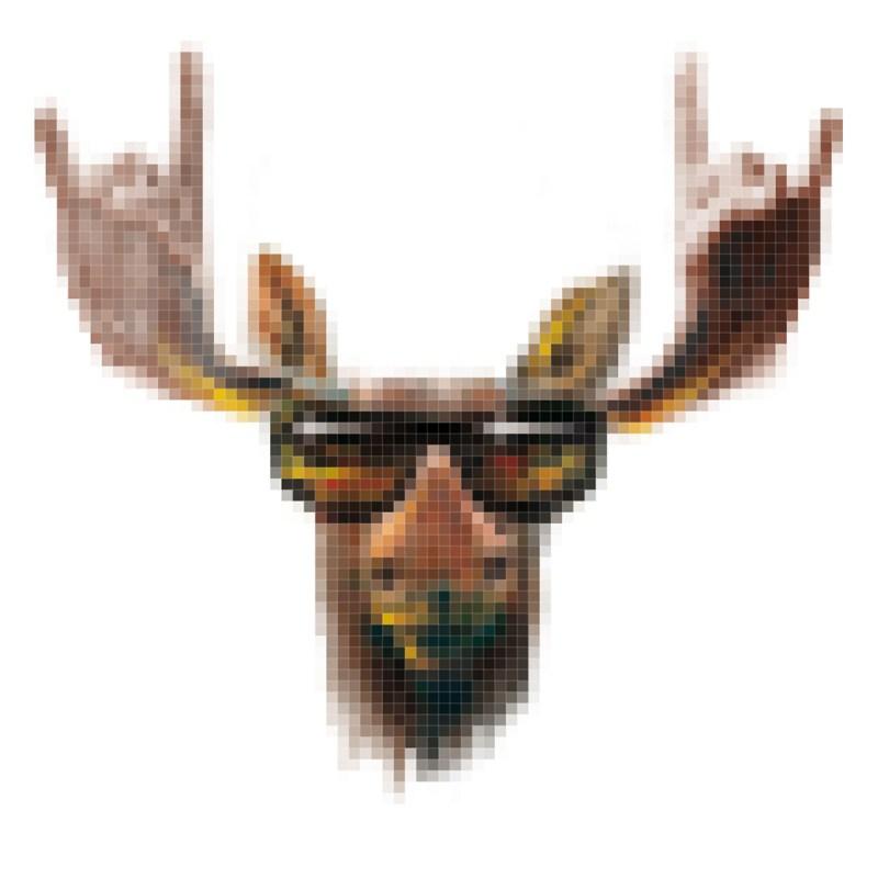 Pixelart für die schwedische Band Kamtchaka, Rock n Roll Elch mit Sonnenbrille