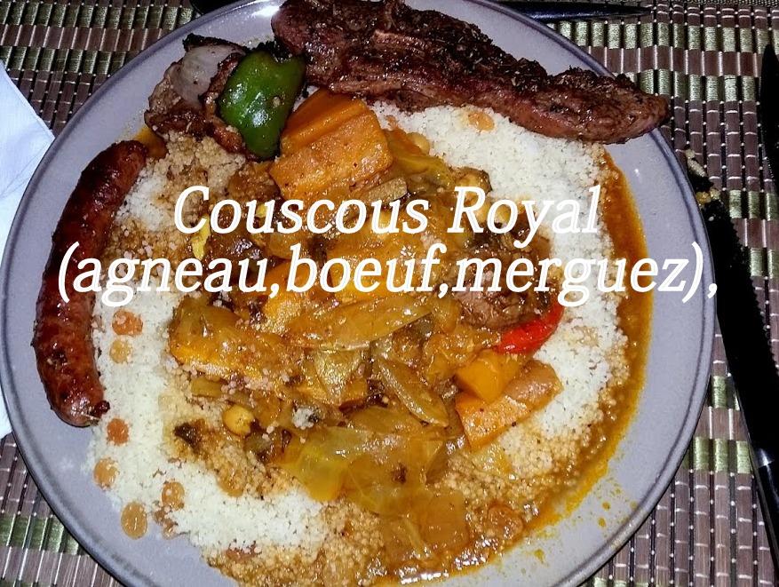 Couscous royal (agneau, bœuf, merguez)