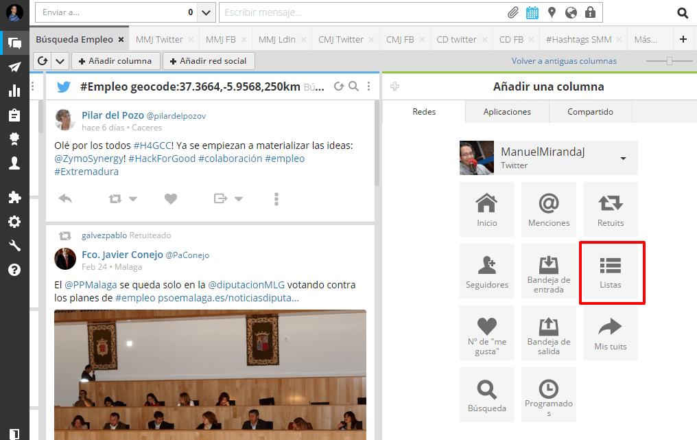 crear listas Hootsuite
