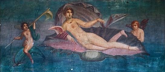 Pintura encontrada en Pompeya. Representa a la diosa Afrodita similar a la que probablemente pintó el pintor griego Apeles.