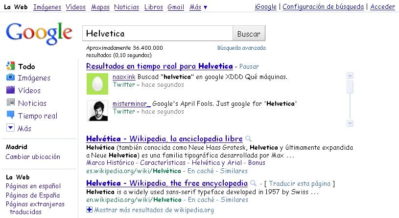 Resultados de Google al buscar Helvetica