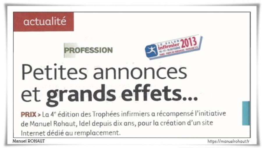 Manuel Rohaut - Infirmière Libérale Magazinerelation presse & media :Dossier spécial, Le remplacement en libéral.De l'infirmière magazine