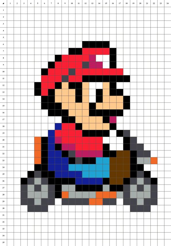 Mario Kart pixel art grille fond blanc
