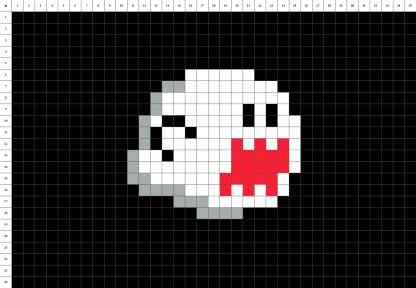 Boo mario fantome pixel art mosaique grille fond noir
