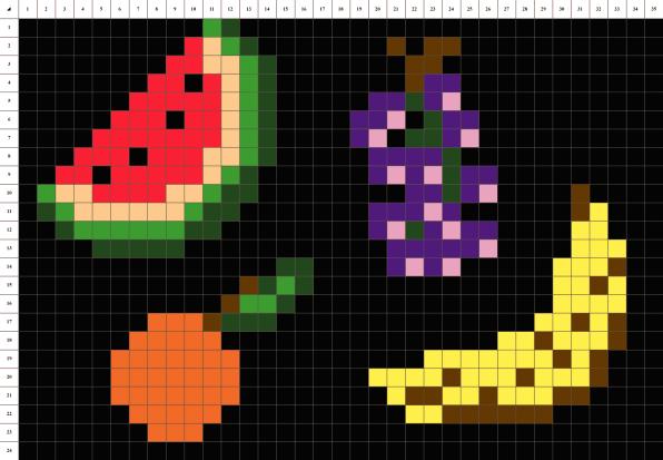 Salade de fruits pixel art mosaique grille fond noir