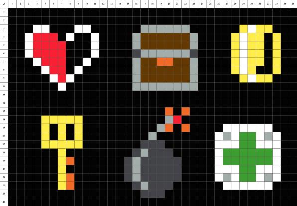Retrogaming pixel art mosaique grille fond noir
