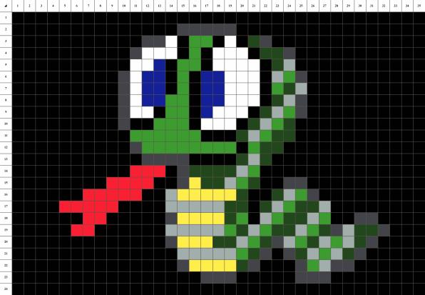 Serpent mosaique pixel art grille fond noir