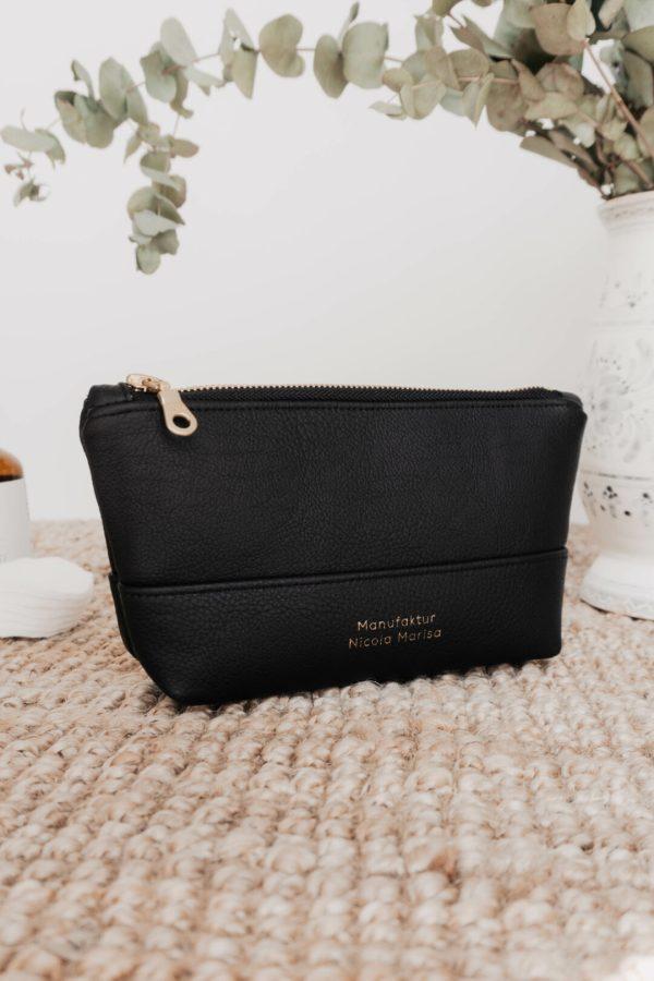 Handmade cosmetic bag black from vegan leather
