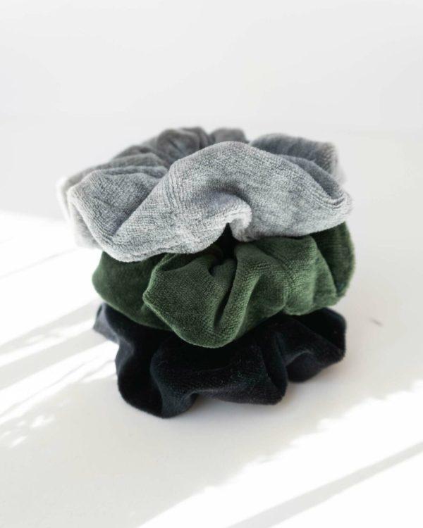 nachhaltige Scrunchies für Damen aus Biobaumwolle