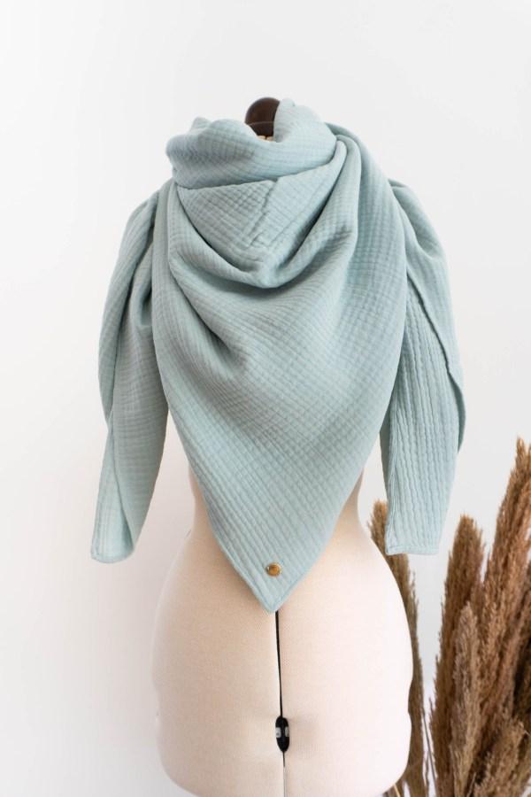 Musselintuch schal Damen aus Biobaumwolle handgefertigt in Deutschland Manufaktur Nicola Marisa Mint