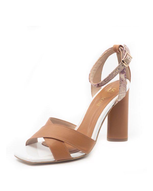 sandały w naturalnym brązowym kolorze na słupku 10 cm