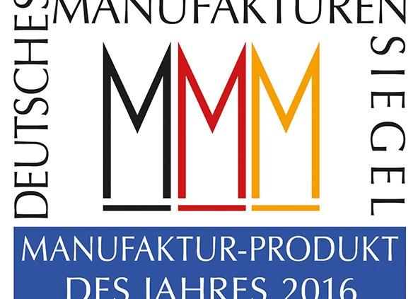 """Deutsche Manufakturen e. V.: Siegel """"Manufaktur-Produkt des Jahres 2016"""" (Grafik: Deutsche Manufakturen e. V. / Entwurf und Reinzeichnung: Peter Sieber, ora et labora)"""