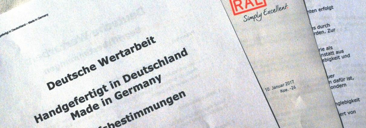 Manufakturen-Blog: Die RAL-Definition für Made in Germany, Deutsche Wertarbeit und Handgefertigt in Deutschland steht (Foto: Wigmar Bressel)